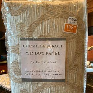 "2 Curtain panels 108"" long; ivory scroll pattern."
